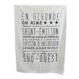Serviettes et torchons made in France Sophie Janière, en coton, illustrés et décorés de texte chuvins sur les régions françaises, en particulier le sud-ouest